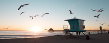 Beautiful Sunset With Seagulls, Lifeguard, Huntington Beach, California