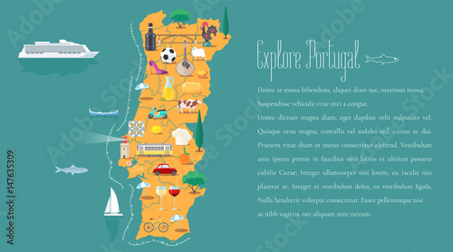 Photo Map of Portugal horizontal article layout vector illustration