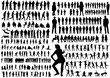 illustration, silhouettes people, collection, girls men, children, silhouettes people dancing