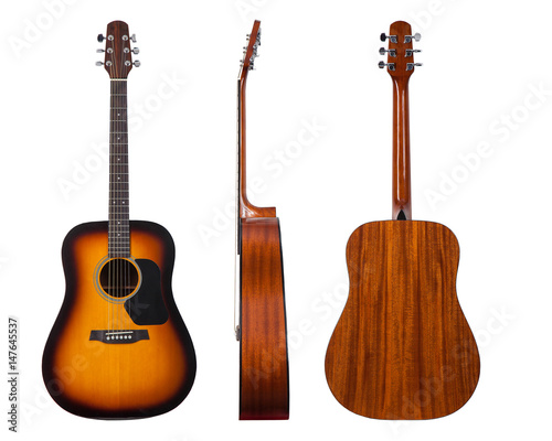 classic musical instrument wooden six-string guitar isolated on white background Wallpaper Mural