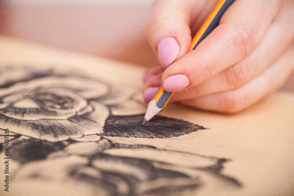 Fototapety, obrazy: Closeup of drawing at the desk
