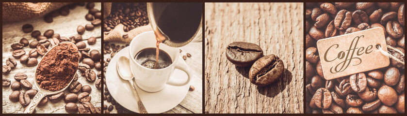 Fototapetacollage of coffee. a lot of pictures. selective focus.