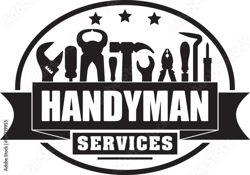 Handyman services vector solid gubber stamp for your logo or emblem with banner and set of workers tools. There are wrench, screwdriver, hammer, pliers, soldering iron, scrap.