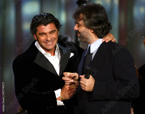 Blind Italian Singer Andrea Bocelli Is Is Congratulated By