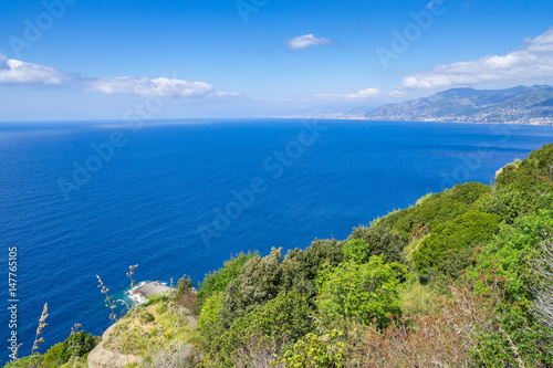 Bay of Genova seen from Tigullio promontory, Liguria, Italy