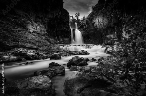 Photo Stands Black White River Falls