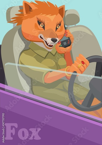 Printed kitchen splashbacks Cats Fox talking on a cell phone/ Fox talking on a cell phone holding the steering wheel of the car, to make a screensaver on your phone who is calling you?