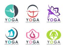 Yoga Logo With Abstract Human Playing Yoga Posture Vector Set Design
