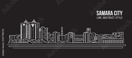 Cityscape Building Line art Vector Illustration design - Samara city Canvas-taulu
