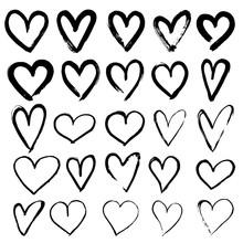 Set Of Hand Drawn Hearts.