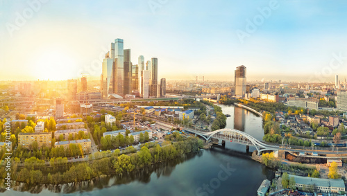 Sunrise over Moscow City district and Moscow river Canvas Print