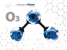Molecule Of Ozone With With Te...