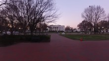 Walking Through Lafayette Square Towards The White House North Lawn