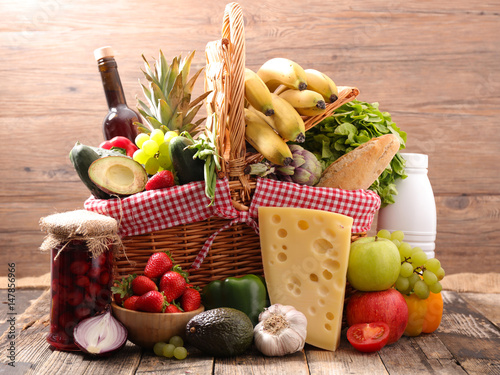 raw food in wicker basket