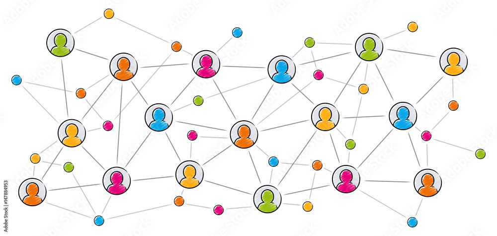 Fototapeta Soziales Netzwerk / Vektor, farbig, freigestellt