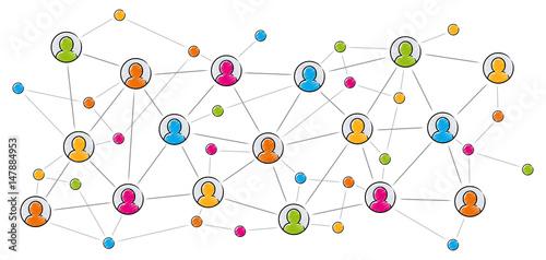 Cuadros en Lienzo Soziales Netzwerk / Vektor, farbig, freigestellt