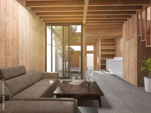 3d rendering japanese living room style house with wood ...