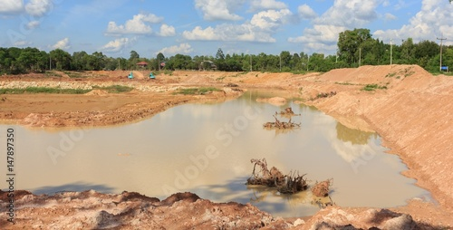 Fotografia, Obraz  Dredging ponds for use in agriculture in the dry season