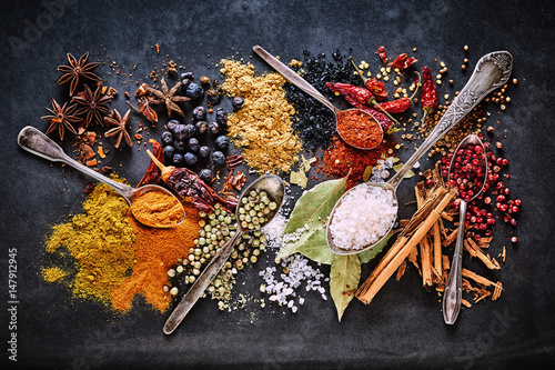 Fotografie, Obraz  Still life of a variety of dried culinary spices