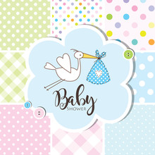 Baby Shower Invitation Card, Baby Arrival Card. Seamless Patterns At The Background.