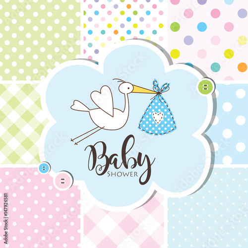 Fototapeta Baby Shower Invitation Card Baby Arrival Card Seamless Patterns At The Background