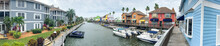 SIESTA BEACH, FL - FEBRUARY 2016: Panoramic View Of Colourful Homes Along Canal. Siesta Beach Is A Famous Destination In Florida