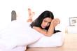 canvas print picture - Asiatisches Mädchen im Bett