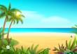 Tropical paradise island sandy beach, palm trees and sea
