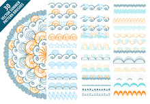 Summer Vector Pattern Brushes With Hand Drawn Colorful Seashells And Waves Set