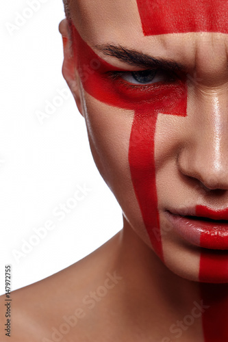 Beauty Woman with tribal futuristic red Make-up