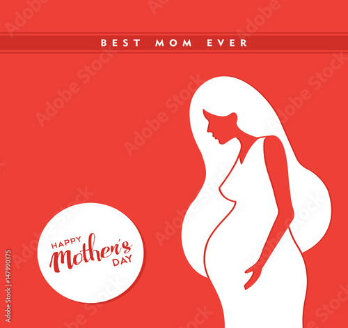 Photo Happy mothers day pregnant mom illustration