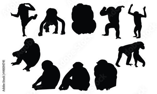 Fotografie, Tablou Chimpanzee Silhouette vector illustration