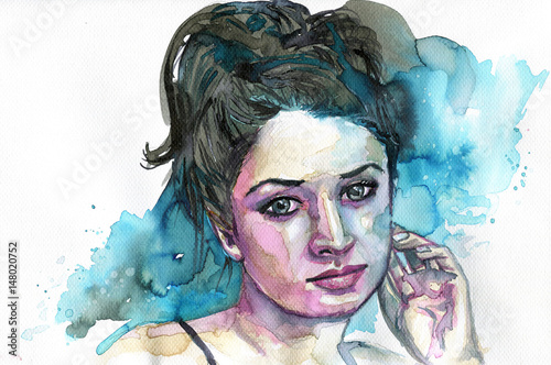 Foto auf AluDibond Aquarelleffekt Inspiration Watercolor portrait of a woman