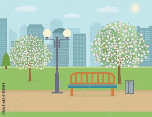 In de dag Groene koraal Spring landscape background. Public park in the city. Vector illustration.