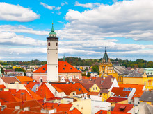Aerial View Of Red Rooftops With White Tower Of Domazlice On Sunny Day, Czech Republic.
