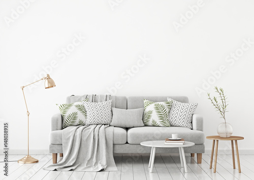 neutral livingroom interior with fabric sofa