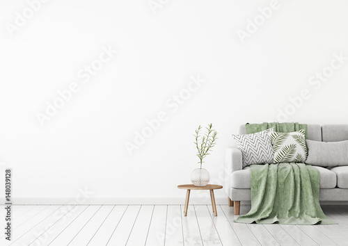 Livingroom Interior Wall Mock Up With Gray Fabric Sofa And Pillows On White  Background With Free