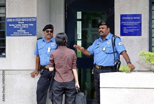 Security guards refuses entry of visitor to US embassy in