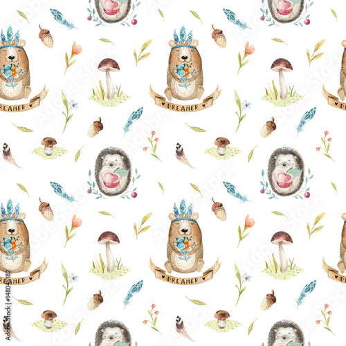 Cotton fabric Cute baby hedgehog  and bear animal seamless pattern for kindergarten, nursery isolated  illustration for children clothing. Watercolor Hand drawn boho image Perfect for phone cases design, nursery