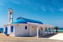 White And Blue Chapel On A Shore Near Aiya Napa, Cyprus.