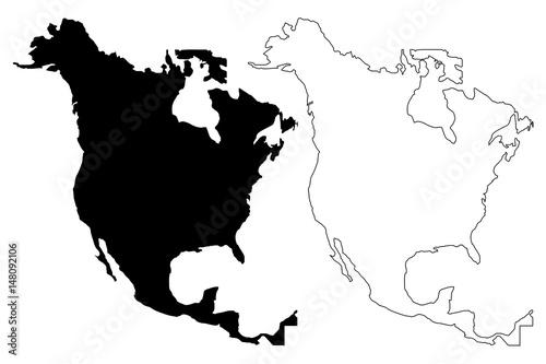 Fotomural  North America map vector illustration, scribble sketch North America