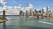 Panorama of Brooklyn Bridge at sunny day.