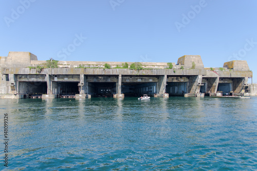 Photo  Submarine base in Lorient harbor, Morbihan in Brittany