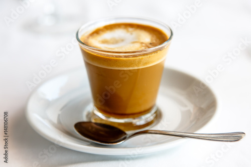 Foto op Canvas Chocolade Cortado - Spanish coffee with milk in the Cup.