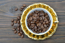 Coffee Beans In The Vintage Cup