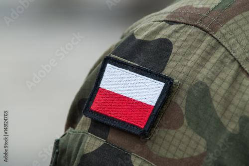 Plakat Polska flaga narodowa na mundur wojskowy