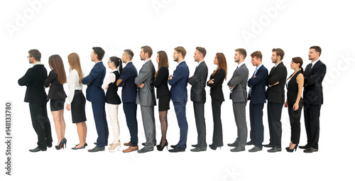 Fotografie, Obraz  Profile of a business team in a single line against white background