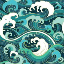 Marine Seamless Pattern With W...