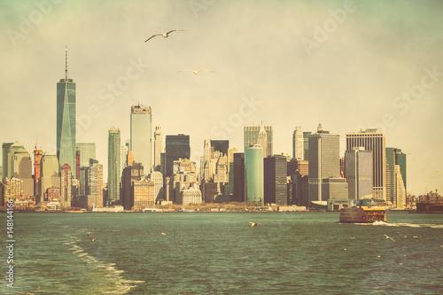 Photo Stands Shanghai Lower Manhattan Skyline
