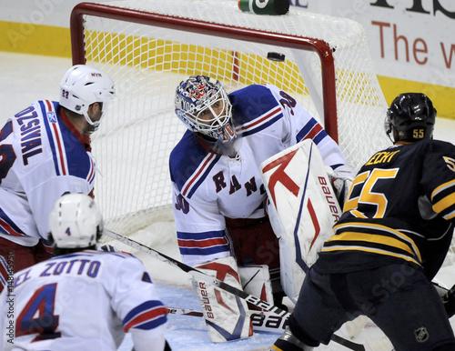Ranger Goaltender Henrik Lundqvist Watches Deflection Off Sabres